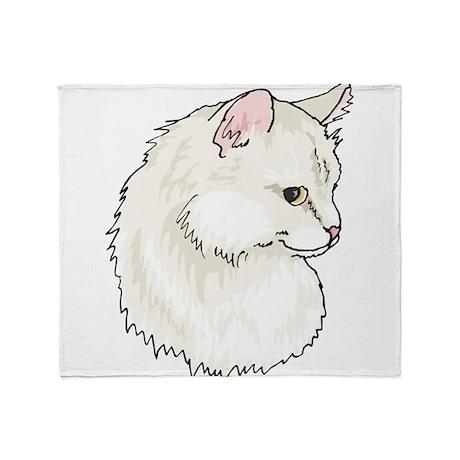White Kitty Cat Face Throw Blanket