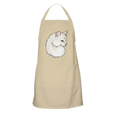 White Kitty Cat Face Apron