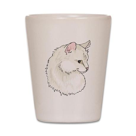 White Kitty Cat Face Shot Glass
