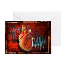 Human heart, artwork - Greeting Card