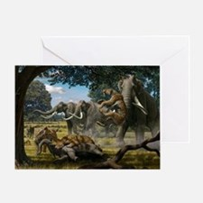 Mammoths and sabre-tooth cats, artwork - Greeting
