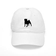 silhouette pug Baseball Cap