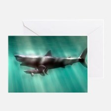 Megalodon shark and great white - Greeting Card