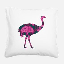 Hippy Ostrich Square Canvas Pillow