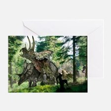 Pentaceratops dinosaurs mating - Greeting Card
