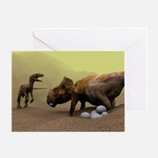 Protoceratops dinosaur defending eggs - Greeting C
