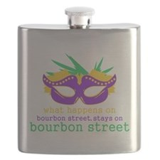What Happens on Bourbon Street Flask