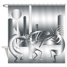 Kokopelli in shades of Gray Shower Curtain