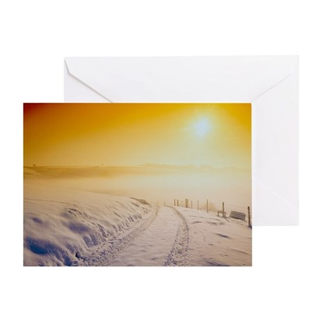 Snow covering Exmoor at sunset, Winter 1991 - Gree