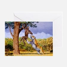 Scimitar cat attacking a hominid - Greeting Card