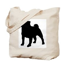 silhouette pug Tote Bag