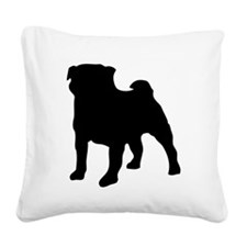 silhouette pug Square Canvas Pillow