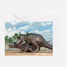 Tyrannosaurus rex dinosaurs mating - Greeting Card