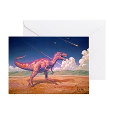 Tyrannosaurus rex with meteorites - Greeting Card