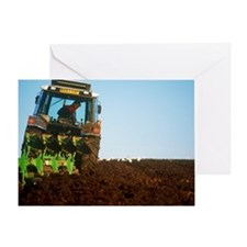 View of a tractor ploughing a field - Greeting Car