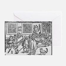 Woodcut of scribes at work - Greeting Card