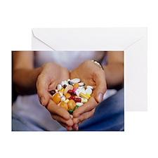 Handful of pills - Greeting Card