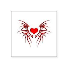 """Heart tattoo tribal Square Sticker 3"""" x 3"""""""
