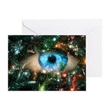 Abstract computer graphic of an eye on starfield -