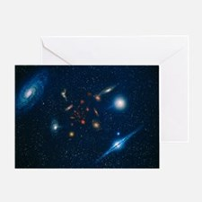 Artwork of various galaxies showing red shift - Gr