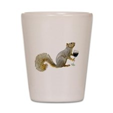 Cute Squirrel drinking wine Shot Glass