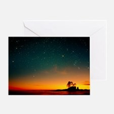 Orange sunset with Orion, Gemini - Greeting Card