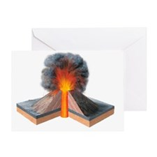 Erupting cinder cone, artwork - Greeting Card