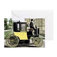 Early electric taxi cab - Greeting Card