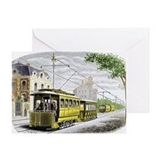 Early electric tram - Greeting Card