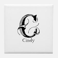 Cindy: Fancy Monogram Tile Coaster