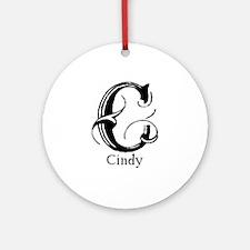 Cindy: Fancy Monogram Ornament (Round)