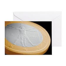 Italian one euro coin, SEM - Greeting Card