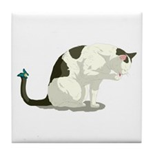 Butterfly and Bathing Cat Tile Coaster