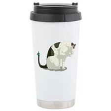 Butterfly and Bathing Cat Travel Mug