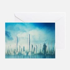Mirage around an oil field - Greeting Card