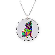 Designed Pug Necklace Circle Charm