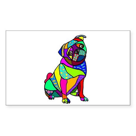 Designed Pug Sticker (Rectangle)