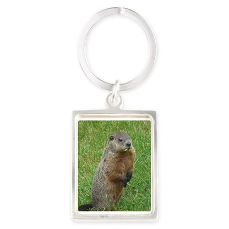 Groundhog eating Portrait Keychain