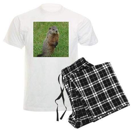 Groundhog eating Men's Light Pajamas