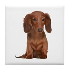 Painted Red Doxie Tile Coaster