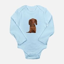 Painted Red Doxie Long Sleeve Infant Bodysuit