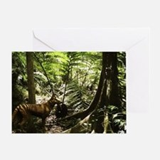 Tasmanian wolf in forest - Greeting Card