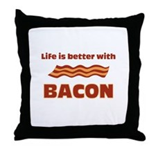 Life is better with Bacon.png Throw Pillow
