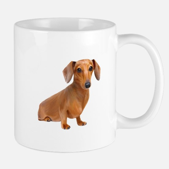 Painted Red Doxie Smooth Hair Mug