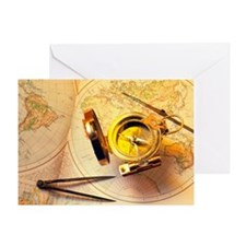 Magnetic compass on a map - Greeting Card