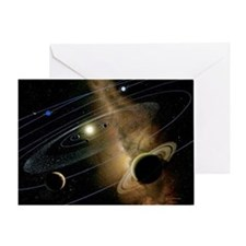 Saturn and solar system - Greeting Card