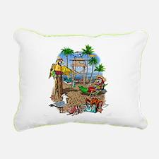 Parrot Beach Shack Rectangular Canvas Pillow