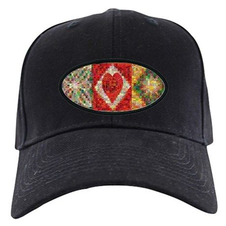 Heart Patchwork Love Quilt Black Cap