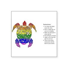 Rainbow Turtle Collage Rectangle Sticker