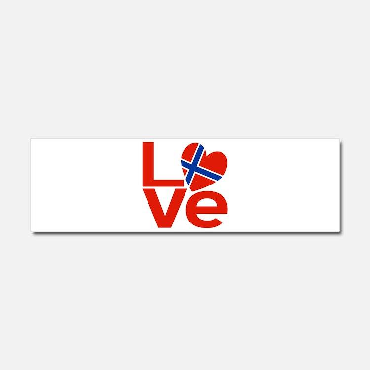 Norwegian Red LOVE Car Magnet 10 x 3